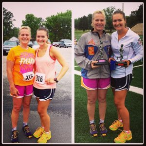 Mom & me after winning our age groups at the Armed Forces Day 8 Miler