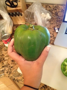 Look at this fella! Have you ever seen a green pepper the size of a softball?