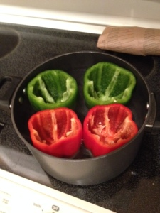 Boiling peppers-- how exciting! Remember, they only need to be in there for 5 minutes
