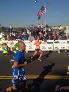 My husband got this shot of me racing toward the finish line!