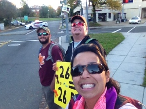 Here we are waiting at Mile 5 to cheer on Cas and the rest of the runners!
